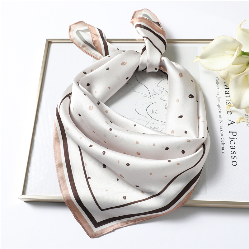 Elegant Silk Scarf Square Shawl Print Women Neck Scarves Wraps Foulard Female Bandana Hair Head Band Kerchief 2020 New