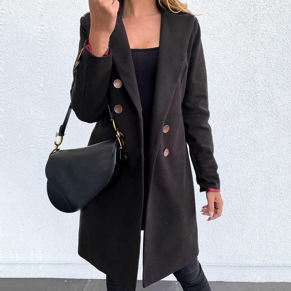 여성 긴 소매 겨울 울 코트 여성 유럽 스타일 플러스 사이즈 숙녀 가을 새로운 슬림 긴 모직 코트 casaco feminino