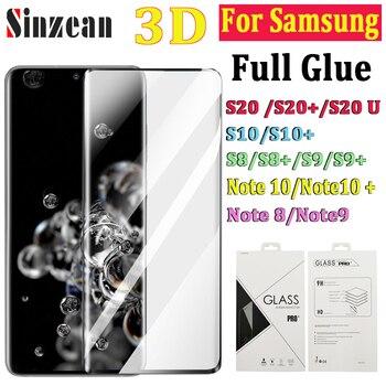 50 Uds para Samsung S20 Ultra/S10 Plus/S8/S9 Plus/nota 8/nota 9/Nota 10 3D curva pegamento total protector de pantalla de vidrio templado