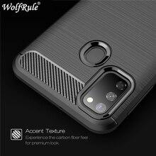 For Cover Samsung Galaxy M30S Case Shockproof Bumper Carbon Fiber Funda