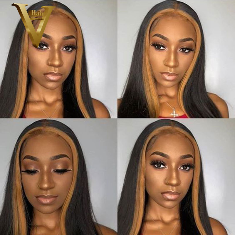Honey Blonde Highlight Straight Short Bob And Long Wigs 13*6 Lace Front Human Hair Wigs Ombre Colored Peruvian Remy Prepluck 150