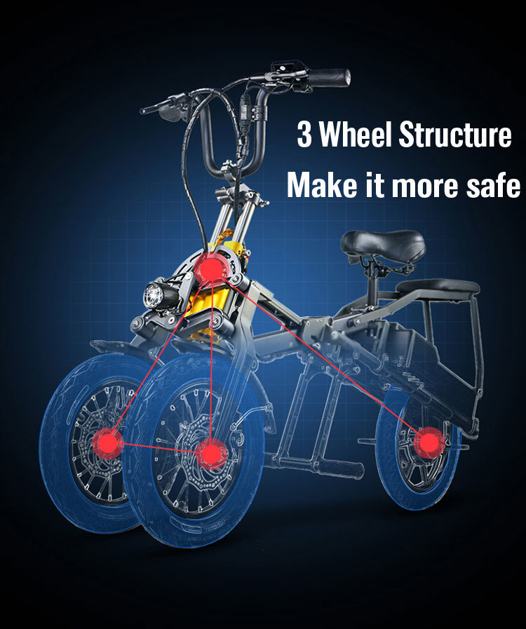JX003 High speed electric bike 350w 48V 3 wheel foldable electric bicycle e scooter 3