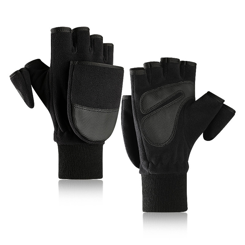 Winter Fleece Warm Gloves Contact Screen Male Flip Cover Refers To Plus Velvet Thickening Outdoor Photography Gloves Extra Large