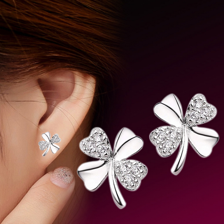 Fashion Jewelry Silver Plated 925 Stud Earrings Lucky Scrub Flower Sweetheart Accessories Vintage Earring Women