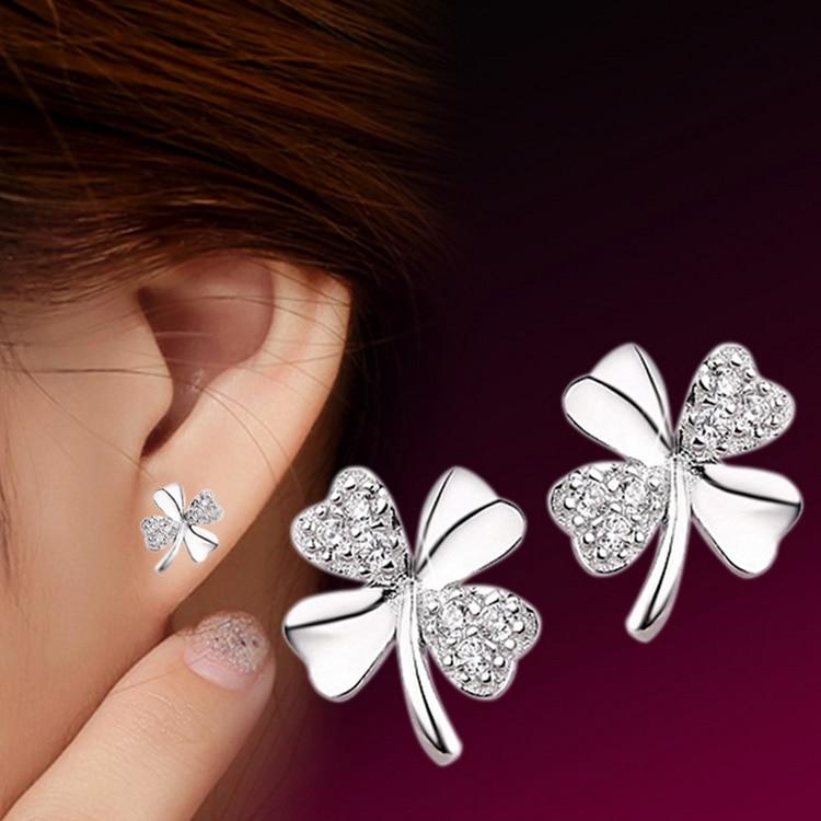 Fashion Jewelry Silver Plated 925 Stud Earrings Lucky Scrub Flower Sweetheart Accessories Vintage Earring Women
