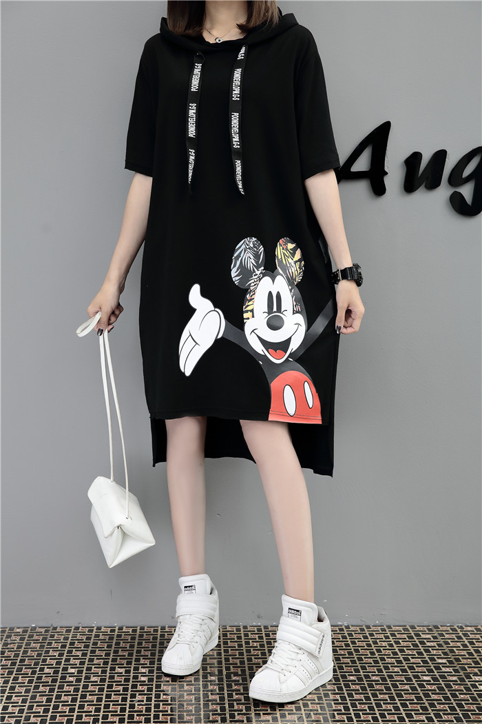 H63c1332e6e394f0486cf778bb88d205b7 - New Runway short sleeve Hooded Sweatshirt dress casual mickey cartoon printed women femme oversize dresses vestidos