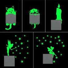 Cartoon Luminous Candle Cat dog Wall Sticker Home Luminous Switch Sticker Glow in the Dark Home Decor Kids Room Decoration Stick