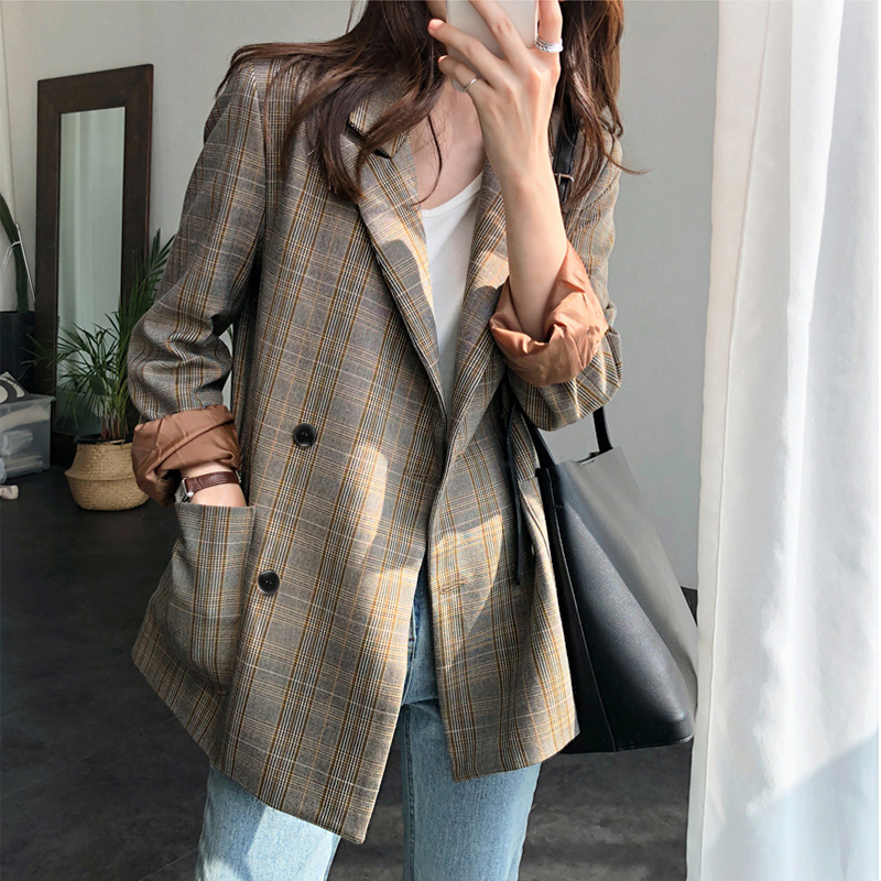Vintage Notch-collar Double Breasted Plaid Blazer Women Full Sleeve Loose Female Grid Suit Coat Autumn Women Jacket  2019