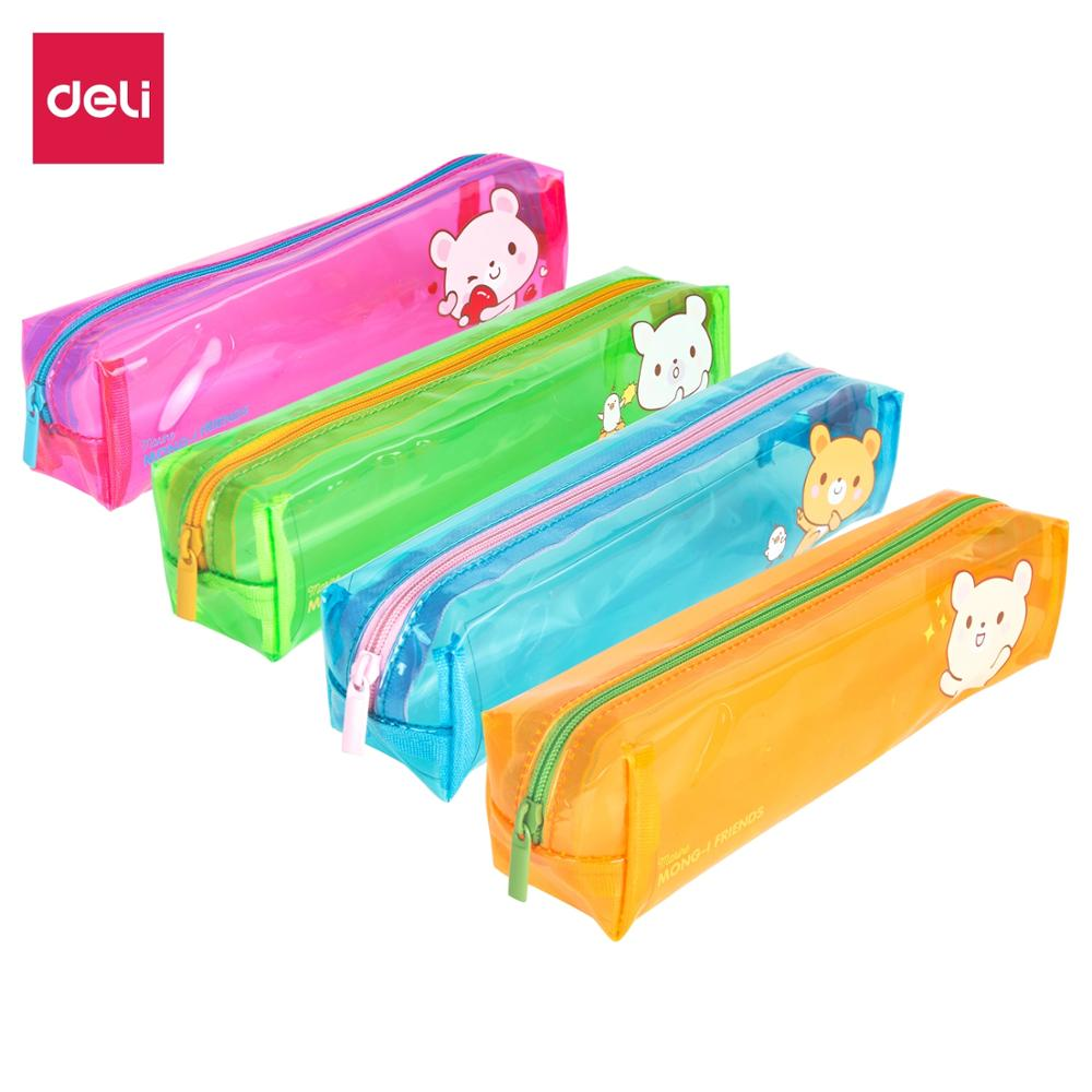 DELI Pencil Pounch Bags Box Case Transparent PVC Bag cute cartoon colorful Small Storage School Supplies EZ85802