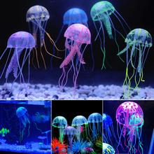 Świecący efekt sztuczna meduza akwarium dekoracja akwarium Mini podwodny Ornament podwodny wystrój zwierząt tanie tanio 17-26g M136536 Ryby Ozdoby Soft silicone Imitation Jellyfish Ornament Fish Tank Landscaping Decration Fish Bowls Ornament