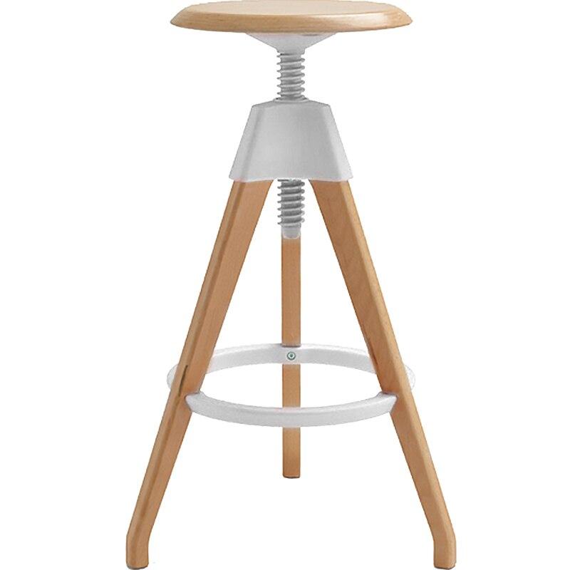 Nordic Modern Creative Simple Solid Wood Rotating Chair Bar High Stools Home Back Silla Banqueta Poltrona Cadeira Taburete
