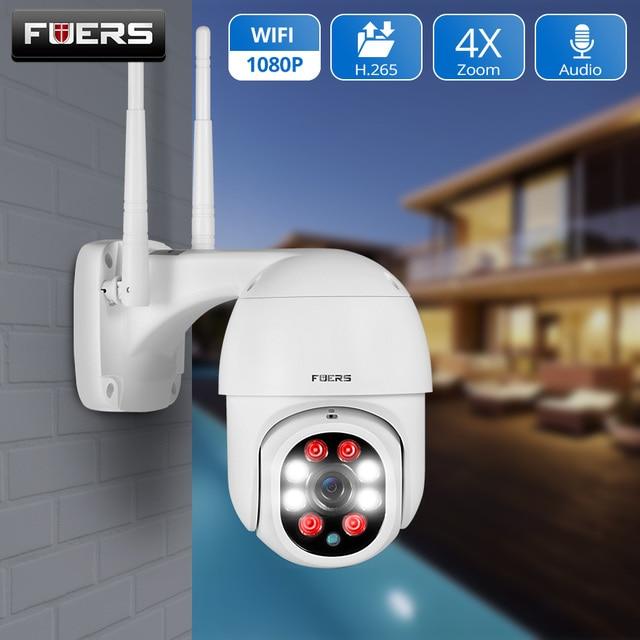 FUERS 1080P kamera zewnętrzna kamera PTZ IP bezpieczeństwo CCTV 4X Zoom kamera monitorująca WIFI P2P chmura noktowizor wykrywanie ruchu