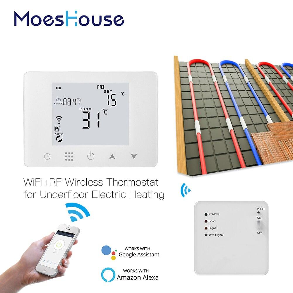 Termostato inteligente WiFi con pared controlador de temperatura de calefacción por suelo radiante eléctrico funciona con Alexa Google Home