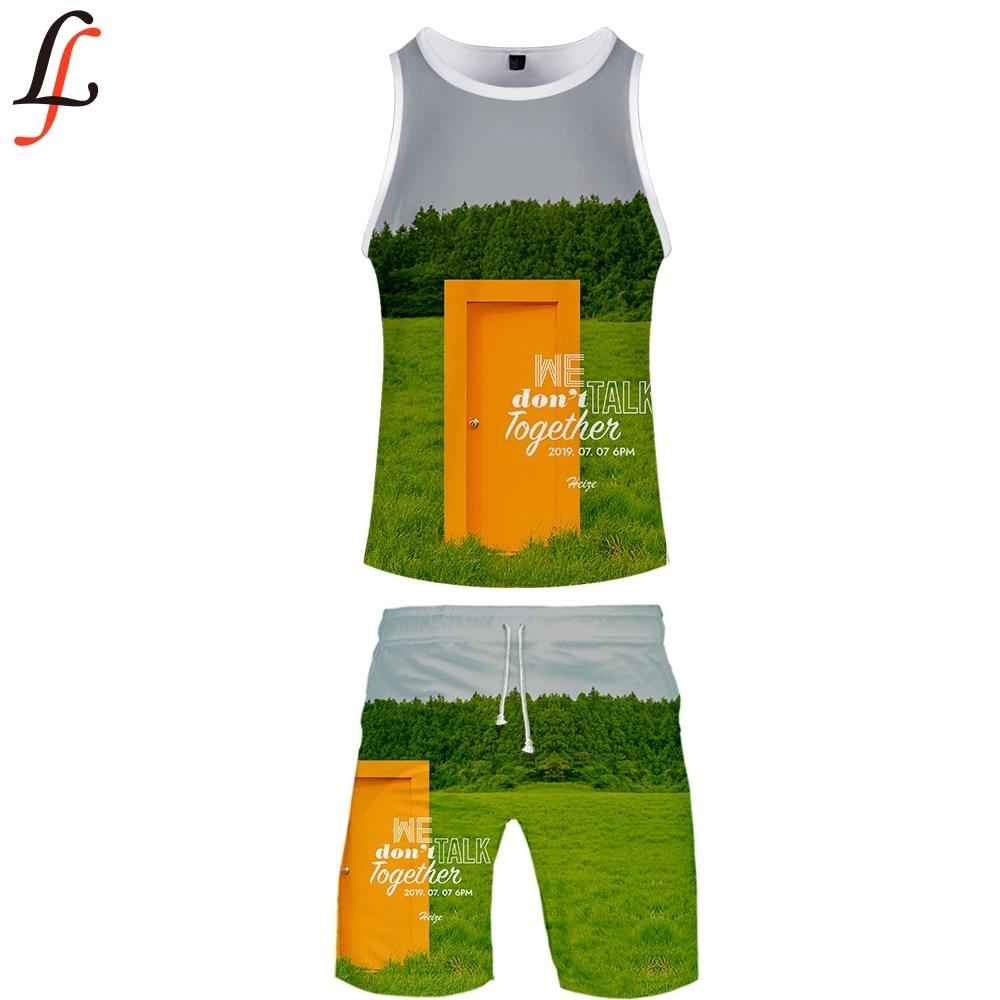 HEIZE 3D Summer Men Causal Beach Sleeveless Vest Sleeve Shorts Sweatsuit+Pants Quick-dry Tracksuit Men's Sports Suits Sportswear