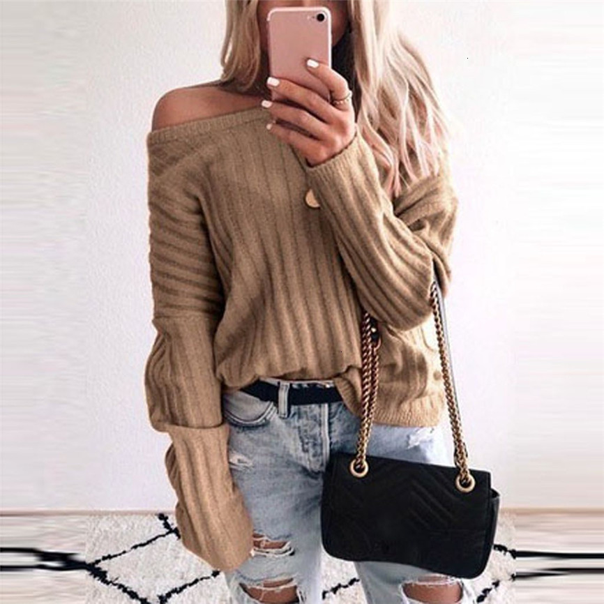 Women Fashion Autumn Winter Sweater Skew Collor Solid Color Long Sleeve Sweater Top Ropa Pullover For Women Mujer Invierno 2019