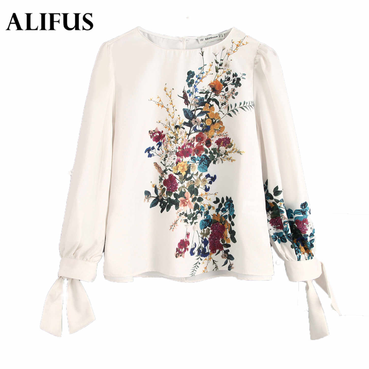 Fashion Za Ladies Floral Print Autumn Winter Tops O-neck Lace Up Bow Long Sleeve Elegant Casual Women Blouse Blusas