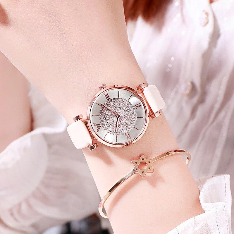 Tephea Top Brand Luxury Ladies Wrist Watch Rhinestone Leather Strap Watches Women Alloy Analog Quartz Red Purple Relogio 2019