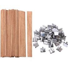 Wick Candles Wooden 50pcs 6mm 13mm 8mm with Sustainer Tab for Supply Soy-Parffin-Wax