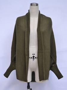 Image 4 - Fitshinling более Размеры d длинный свитер кардиган женский одежда в стиле пэчворк; С рукавами «летучая мышь» с длинным рукавом, верхняя одежда для женщин зима большой Размеры куртка пальто