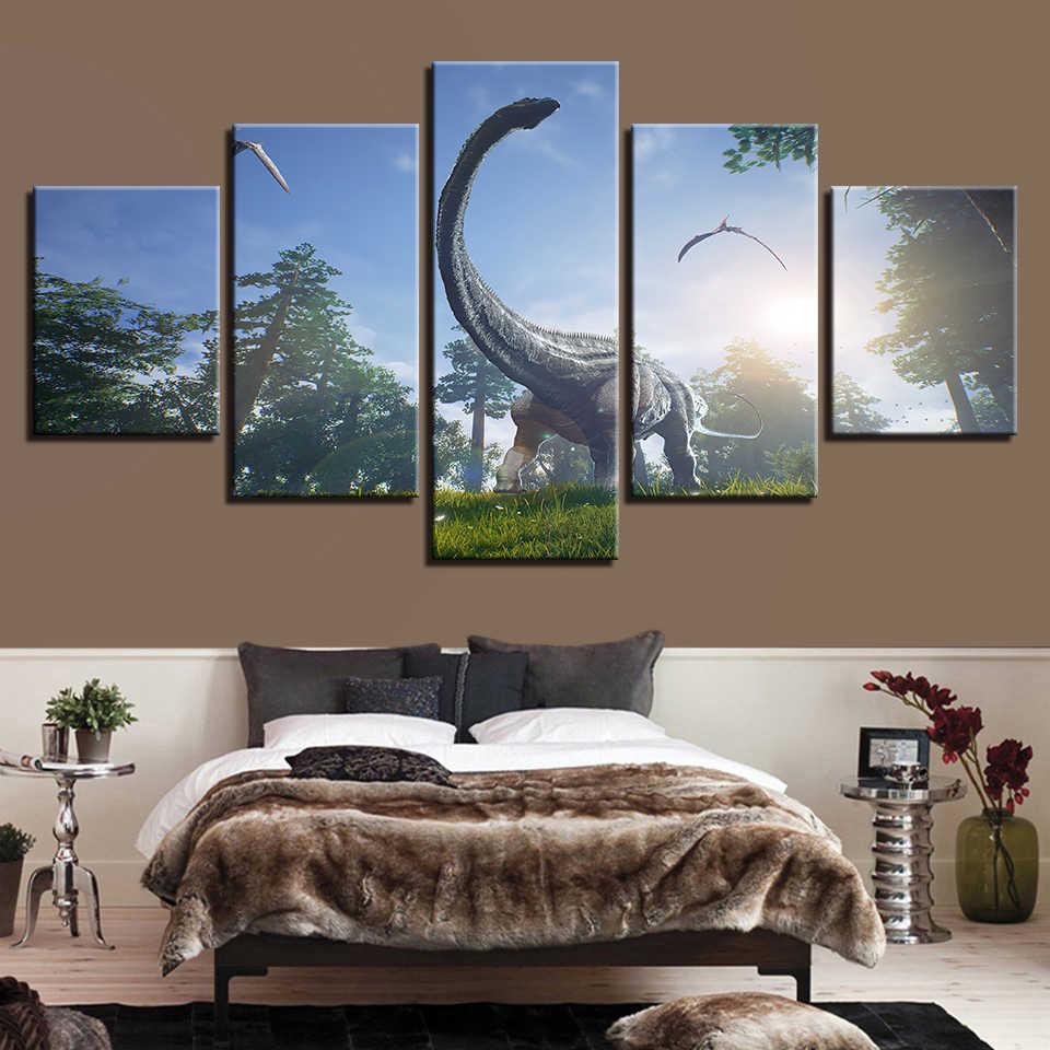 Животные Печать динозавр кошка собака медведь холст, рисунки, постер печать на стену холст 5 панель украшения дома гостиная абстрактный 53