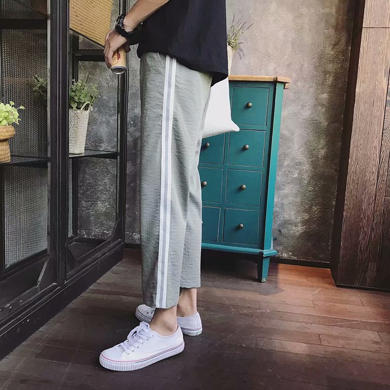 Summer Pants Men's Korean-style Trend Loose Straight Athletic Pants Capri Students Striped Pants Summer Thin Casual Pants