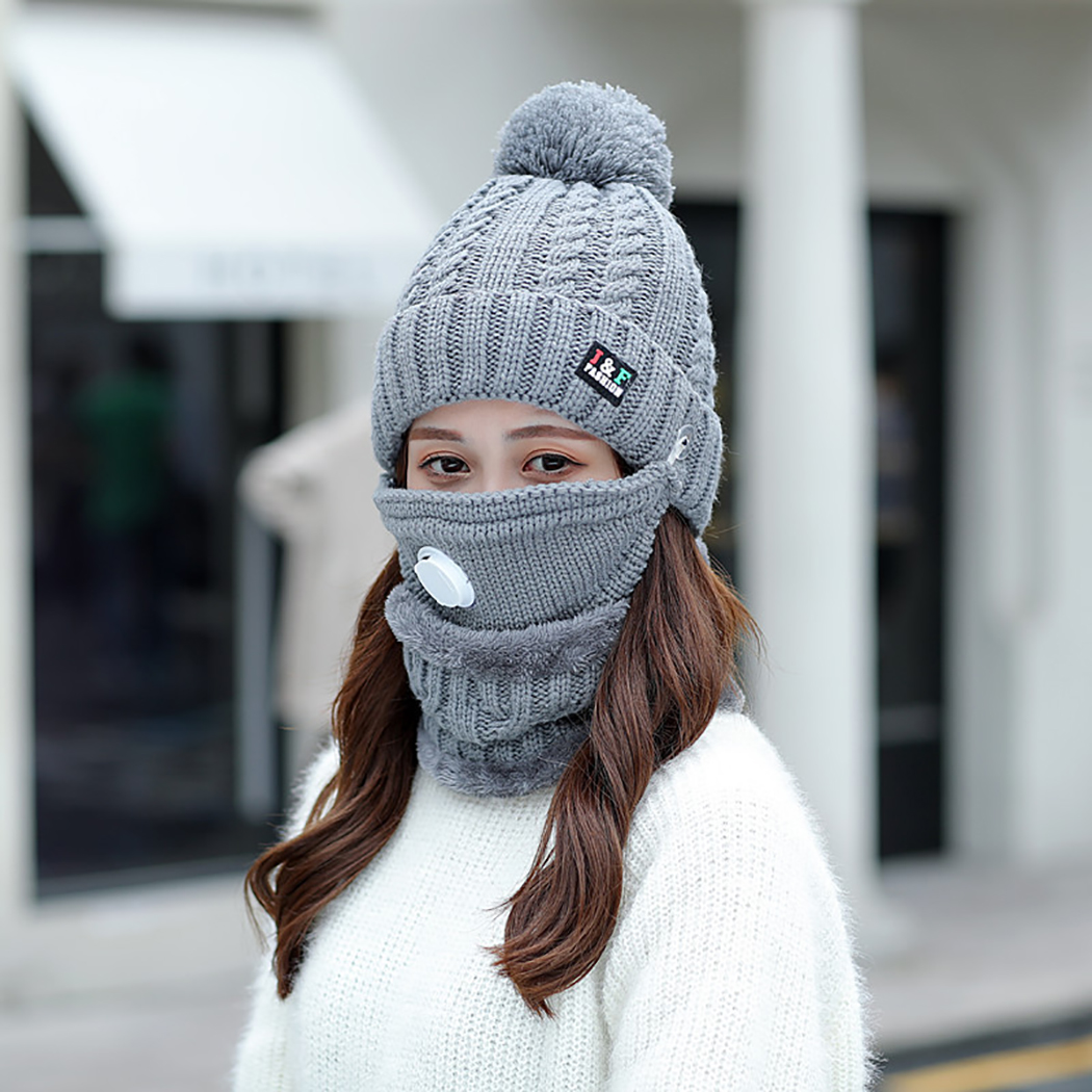 3pcs Winter Windproof Warm Hat Winter Mask Women Knitted Hat Warm Pom Pom Winter Beanie Cap With Neck Warm & Mouth Cover