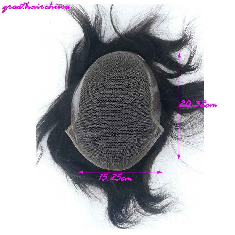 100% suave sedoso atado monofilamento Base de encaje fuera del tupé de super hombres Remy Natural recto de los hombres de reemplazo de pelo envío gratis