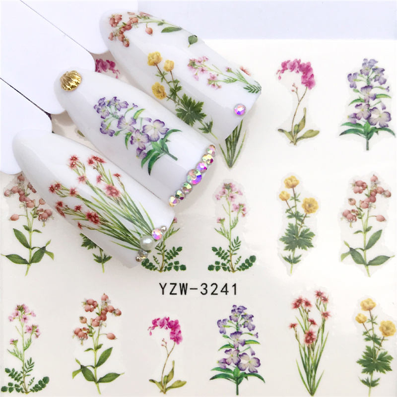 1 PC Colored Flowers / Green grass / Lavender  Nail Stickers Nail Transfer Decals Accessories Tip Manicure Tool
