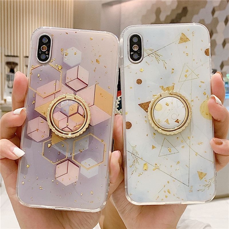 FingerRing Stand Phone <font><b>Case</b></font> For iPhoneXs <font><b>Case</b></font> Gold Foil Floral Silicon Soft Cover For <font><b>iPhone</b></font> XR Max 7 <font><b>Plus</b></font> <font><b>8</b></font> 6 Holder <font><b>Case</b></font> Coque image