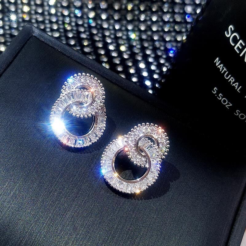 S925 Sterling Silver Color Round Cute Bling Zircon Stone Stud Earrings for Women Fashion Jewelry 2019 New Korean Earrings 1