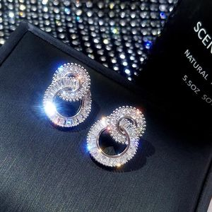 925 Sterling Silver Color Round Cute Bling Zircon Stone Stud Earrings for Women Fashion Jewelry 2019 New Korean Earrings(China)