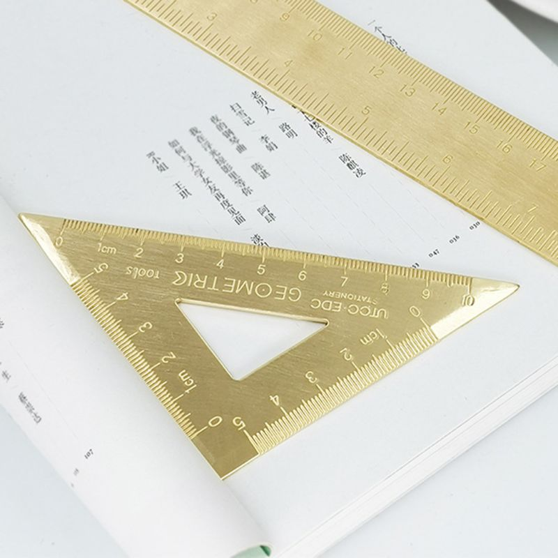 Brass Lsosceles Triangle Ruler Drawing Painting Measuring Tool Cartography Math L41E