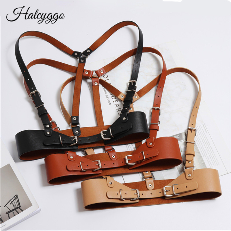HATCYGGO Fashion Women Punk Harajuku O-Ring Garters Faux Leather Body Bondage Cage Sculpting Harness Waisband Straps Suspenders