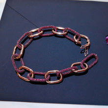 SLJELY High Quality Luxury 925 Sterling Silver Burgundy Red Cubic Zirconia and Pink Link Chains Bracelet for Women Brand Jewelry(China)