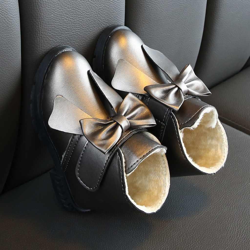 Botas de nieve para niños Bowknot, botas de invierno para bebés, botas de nieve para deportes, botines, zapatos casuales para bebés de tacón bajo chica botas