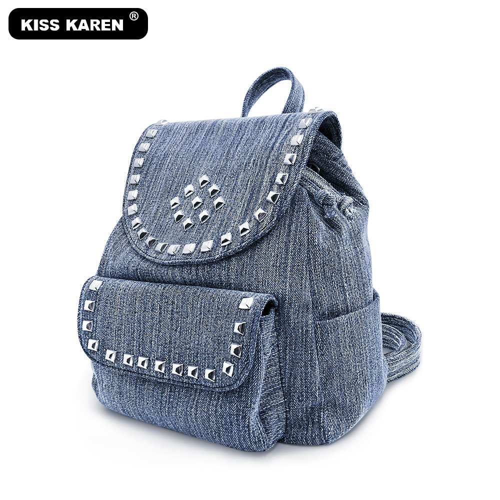 2020 Studded Fashion Backpacks Denim Casual Day-packs Women Backpacks Preppy Style Backpack Bags Jeans Drawstring Backpack