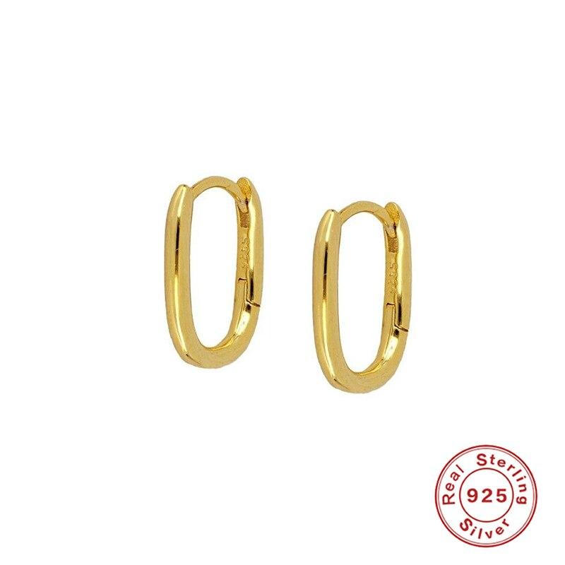 925 Sterling Silver Hoop Earrings For Women Simplicity Glossy Oval Earring Hoops Earings Luxury Circle Round Jewelry Pendientes