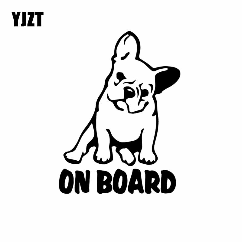 YJZT 10.9X14.6CM Car Sticker Vinyl Decal Dog French Bulldog On Board Cartoon Black/Silver C24-1186