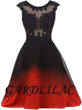 Gardlilac 2020 черно красное короткое вечернее платье с эффектом