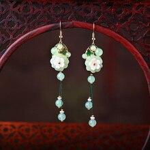 Tassel Long Drop Earrings Women Color jade 925 Silver Eardrop Ear Accessories Chinese style Dangle Vintage Ethnic Ear Clips недорого