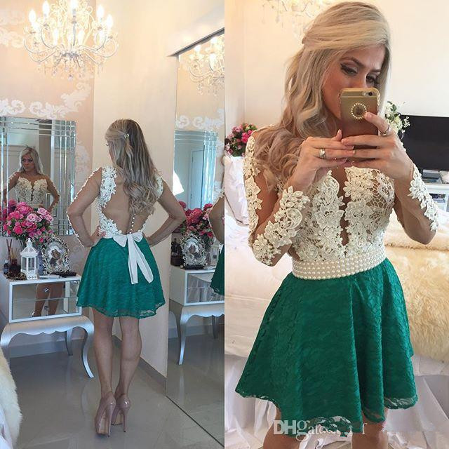 Green 2019 Elegant Cocktail Dresses A-line Long Sleeves Short Mini Lace Pearls Homecoming Dresses
