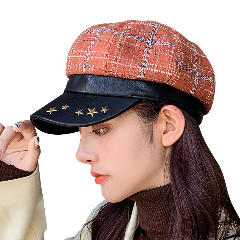 New Style Hit Color Plaid Pattern Lady Spring Autumn Fashion Peaked Cap Star Leather Octagonal Beret Woman Outdoor Travel Sun Ha