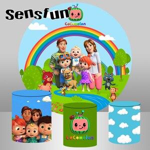 Image 1 - עגול מעגל צילום רקע קריקטורה Cocomelon משפחה ילדים מסיבת יום הולדת תפאורות תמונה סטודיו Custom שיחת וידאו