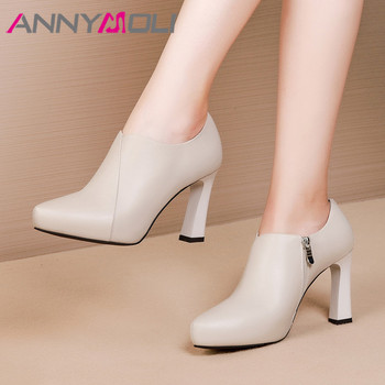 ANNYMOLI High Heels Women Pumps Natural Genuine Leather Thick High Heel Shoes Cow Leather Zipper Pointed Toe Shoes Lady Size 39