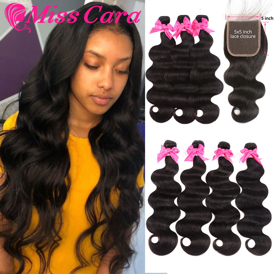 Miss Cara Peruvian Body Wave Bundles With 5x5 Closure 100% Human Hair 3/4 Bundles With Closure 5X5 Inches Closure With Bundles