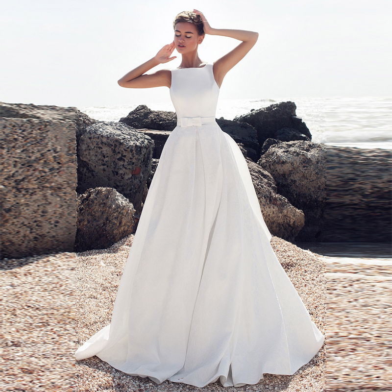 Verngo Aline Wedding Dress Soft Satin Vintage Wedding Gowns Elegant Backless Bride Dress  Vestido De Noiva 2019