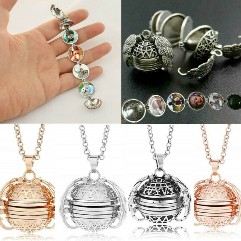 Locket Necklace Ball Family Tree Expanding Wing for 5 PHOTOS Memorial Jewelry