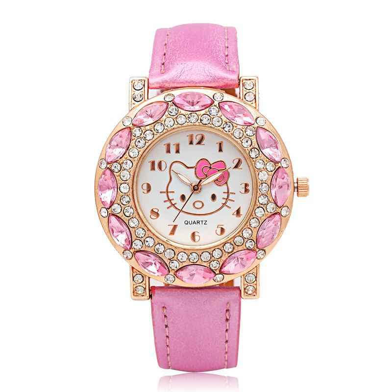 Relojes Hello Kitty para niños, relojes de pulsera de cuarzo de cuero Hello Kitty para niñas