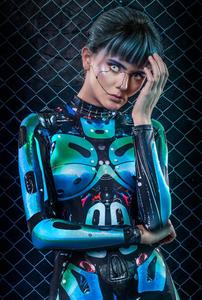 Technology Future Science 3D Printing Full Graphic Club Bar Stage Show Holloween Sexy Costumes Cosplay Long Sleeve Jumpsuit