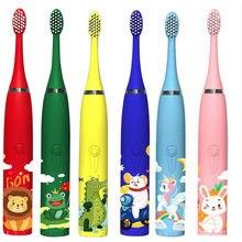 Crianças escova de dentes elétrica padrão dos desenhos animados sonic limpeza ipx7 à prova dwaterproof água substituição cabeças escova carregador usb temporizador inteligente